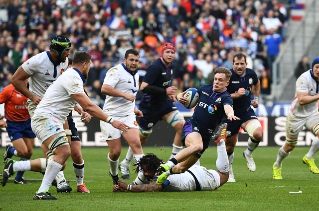 Scotland winger Darcy Graham in action against France during the 2019 Six Nations at the Stade de France. Picture: Anne-Christine Poujoulat/AFP via Getty Images