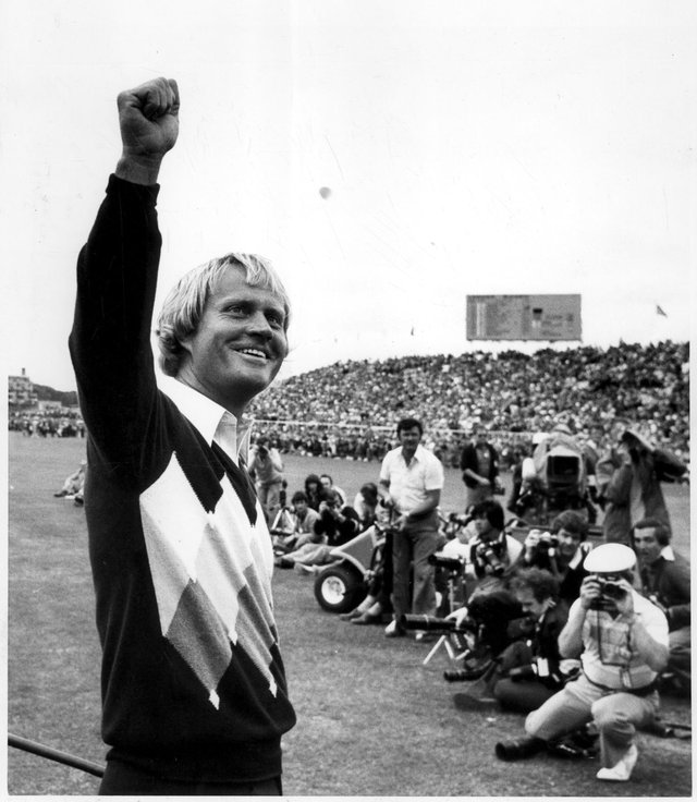 Jack Nicklaus celebrates winning the 1978 Open at St Andrews.