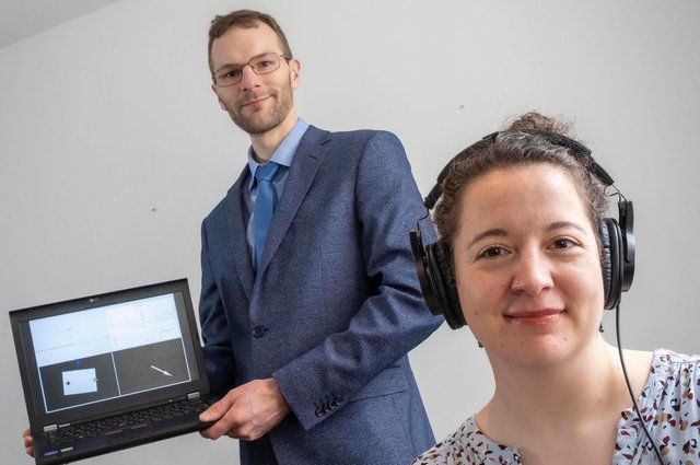 Claudia Freigang, chief executive, and Colin Horne, chief technology officer, of Hearing Diagnostics. The pair are a married couple so social distancing was not required for the photograph. Picture: Peter Devlin