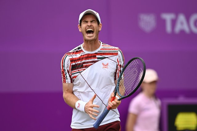 Andy Murray reacts during his round of 16 match against Matteo Berrettini of Italy. Picture: Tony O'Brien/Getty Images
