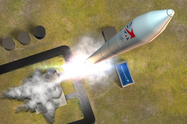 An impression of the satellite launch vehicle leaving Shetland Space Centre. PIC: Contributed.