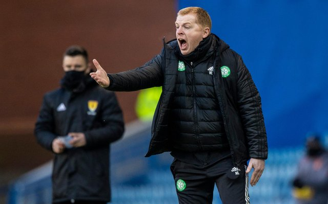 Celtic manager Neil Lennon was left open-mouthed by referee John Beaton's decision to show Nir Bitton a straight red card - the turning point on an afternoon where his team had been dominant before losing 1-0. (Photo by Craig Williamson / SNS Group)