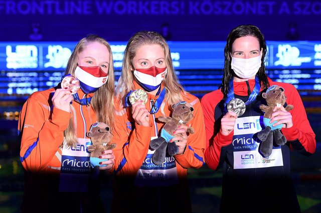 Scottish swimmer Kathleen Dawson, right, shows off her silver medal after the 50m backstroke at the European Aquatics Championships in Budapest. Netherlands' Kira Toussaint, centre, won gold and fellow Dutchwoman Maaike De Waard took bronze.