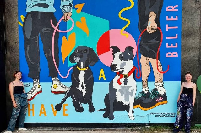 The 'Have a belter' mural created by artists Molly Hankinson, 25, and Michael McManus, 24, located at the SWG3 Yard Works in Glasgow (Photo: Molly Hankinson).
