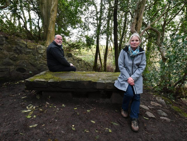 Mr Maiden and Mrs Campbell at the Prophet's Grave in the Brisbane Glen near Largs picture: John Devlin