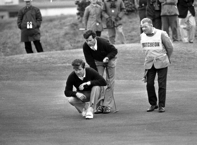 Ian Hutcheon offers his Great Britain & Ireland team-mate Pat Mulcare some advice about a putt during the 1975 Walker Cup at St Andrews, where they beat Dick Siderowf and Jerry Pate. Picture: TSPL