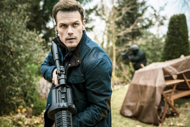 Scottish actor Sam Heughan has told how his character is as exciting as James Bond, and playing the role was exhausting (Picture: Sky Cinema)