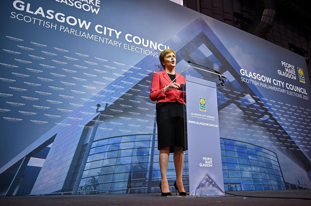 First Minister Nicola Sturgeon gives her acceptance speech after being declared the winner of the Glasgow Southside seat. Picture: Jeff J Mitchell/Getty Images