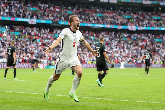 England captain Harry Kane celebrates after scoring his team's second goal in the 2-0 defeat of Germany at Wembley on Tuesday. (Photo by Catherine Ivill/Getty Images)