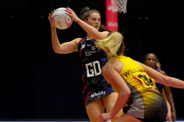 Strathclyde Sirens goal defence Emily Nicholl in action against Wasps during last month's Vitality Super League match in Wakefield.