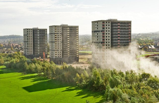 Demolition of the Sighthill high rise flats, Glenalmond, Weir Court and Hermiston Court.