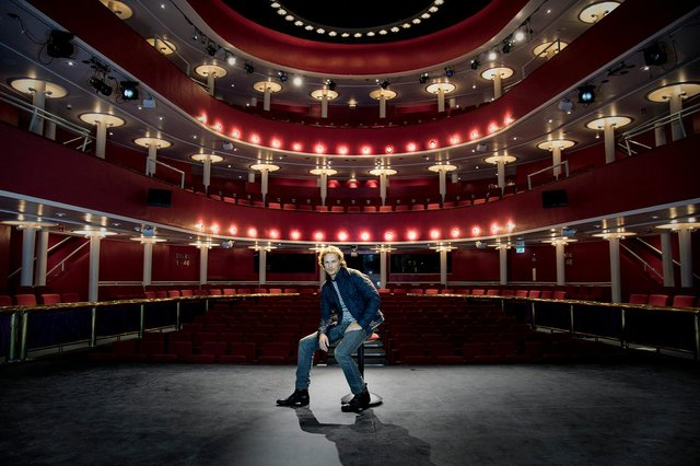 Sam Heughan as a visit to the New Athenaeum Theatre at the Royal Conservatoire of Scotland in Glasgow, where he learned to study drama. Picture: KK Dundas
