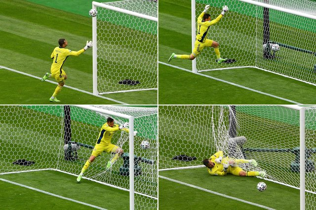 Scotland's goalkeeper David Marshall conceding a second goal to Czech Republic during the UEFA EURO 2020 Group D football match between Scotland and Czech Republic at Hampden Park in Glasgow on June 14, 2021. (Photo by ANDY BUCHANAN / POOL / AFP) (Photo by ANDY BUCHANAN/POOL/AFP via Getty Images)
