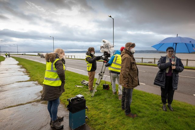 Rising Scottish screen star Silvie Furneaux, who plays Morgan, the daughter of detective inspector Annika Strandhed, on location on location in Helensburgh. Picture: Graeme Hunter