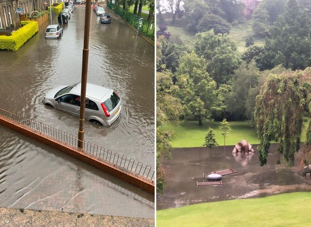 Edinburgh streets, parks, homes and businesses were flooded with water after the extreme rainfall