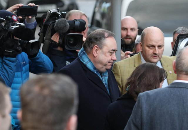 Former Scottish first minister Alex Salmond leaves the High Court in Edinburgh. Picture: PA