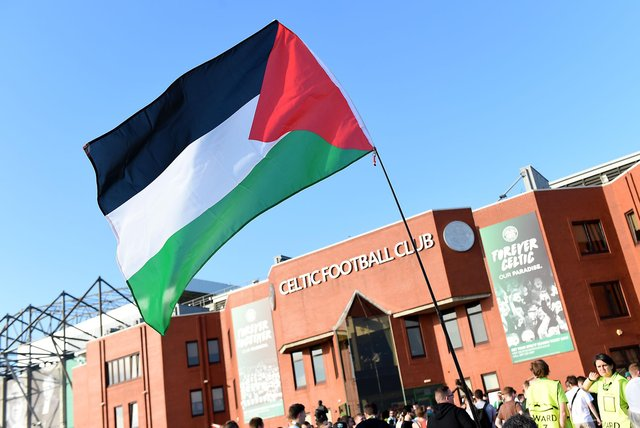 Celtic have removed a display of Palestine flags from the stadium ahead of the St Johnstone match tonight
