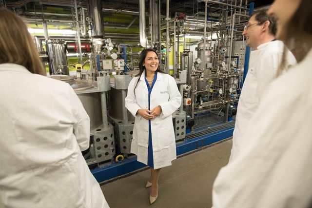 Home Secretary Priti Patel meets experts working on 'carbon capture' technology at Imperial College London (Picture: Stefan Rousseau/PA Wire)