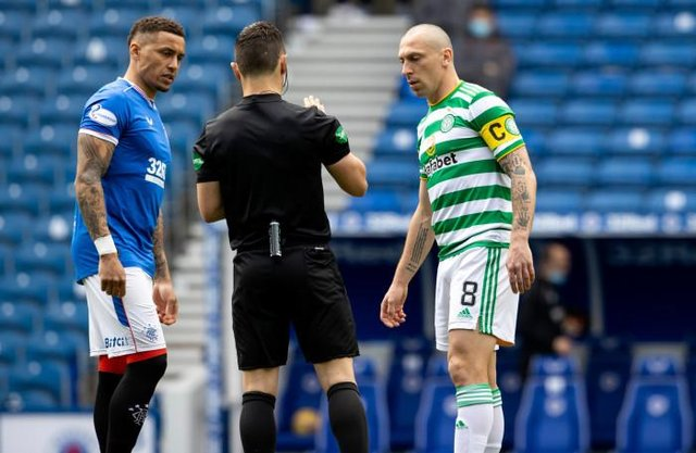 Celtic's Scott Brown and James Tavernier during a Scottish Premiership match between Rangers and Celtic at Ibrox Park, on May 02, 2021, in Glasgow, Scotland. (Photo by Alan Harvey / SNS Group)