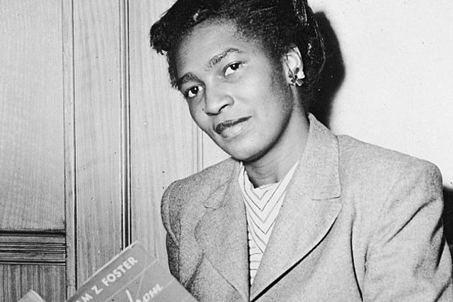 Claudia Jones at the National Communist Headquarters in New York in 1948 after being arrested and charged with being an illegal alien (Photo: Hulton Archive/Getty Images)