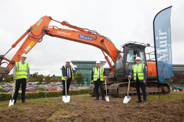 Ambassador Group has announced the official groundbreaking on a 'landmark' development on one of its properties at the Alba Campus in Livingston, West Lothian. Left to right are Graham Findlay, Thomas & Adamson; Alastair Campbell, Muir Construction; Stephen Galloway, MIWFM; Chris Richardson, Ambassador Group.