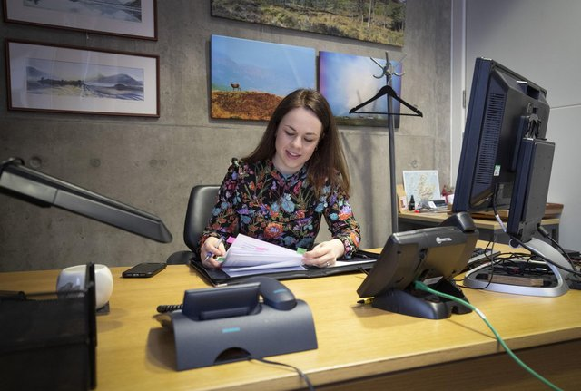 Finance Secretary Kate Forbes preparing her speech in her office in Holyrood, Edinburgh, ahead of delivering  the Scottish Government Budget for 2020/21 to the Scottish Parliament (Photo: Jane Barlow/PA Wire).