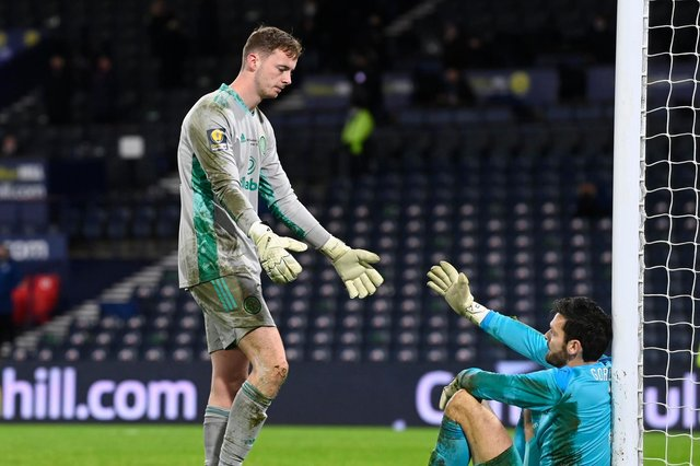 Celtic 'keeper Conor Hazard sympathises with Hearts opposite number, and former club mate, Craig Gordon (Photo by Rob Casey / SNS Group)