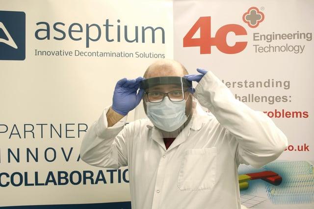 Pawel de Sternberg Stojalowski of Aseptium models a Corran face shield.