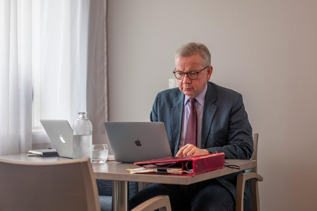 Michael Gove dials into a Cabinet meeting from his accommodation in Stornoway. (Picture: Fiona Rennie)