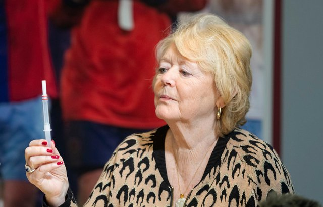 Hearts owner Ann Budge undergoes a rapid antigen test at Tynecastle Park on Wednesday.