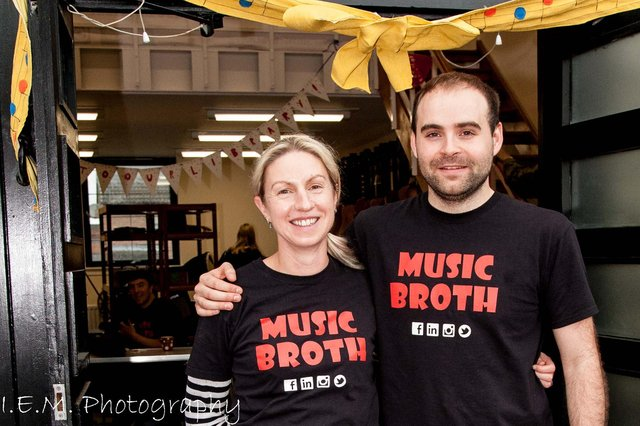 Music Broth founders Jen O'Brien and Felix Slavin are outside the premises, Govanhill Glasgow.