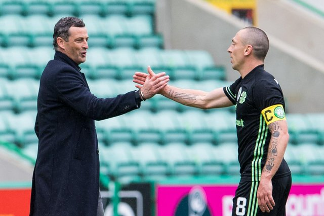 Hibs manager Jack Ross, and Celtic captain Scott Brown after the sides settled on a 0-0 at Easter Road in their final league game of the season. Photo by Ross Parker / SNS Group