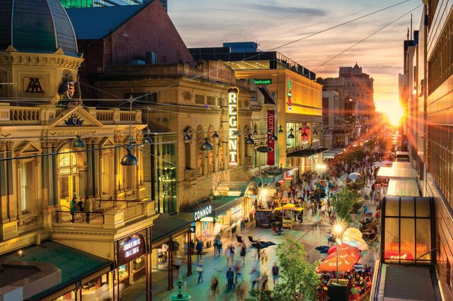 The bustling centre of the city - which has a relaxed metropolitan elegance. Picture: Chris Oaten/Adelaide City Council.