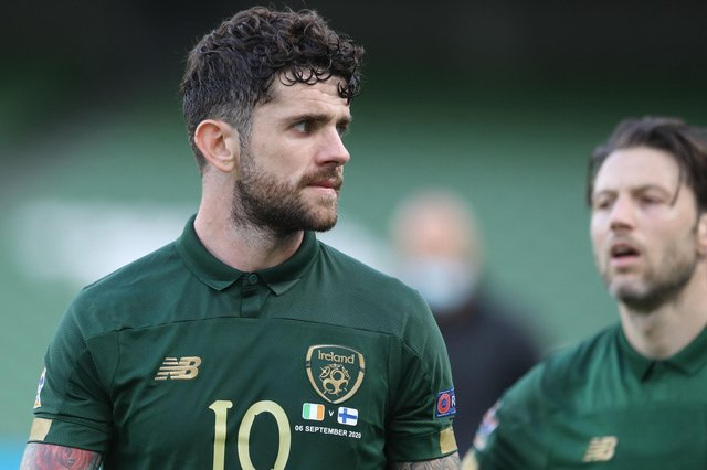 Republic of Ireland midfielder Robbie Brady has been linked with Celtic (Photo by LORRAINE O'SULLIVAN/POOL/AFP via Getty Images)