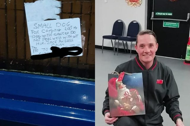 A picture of the post-it note found in a bus shelter in West Kilbride believed to have been written by an elderly resident who is looking for a new dog after his died from cancer, and a picture of David Macleod picture: supplied