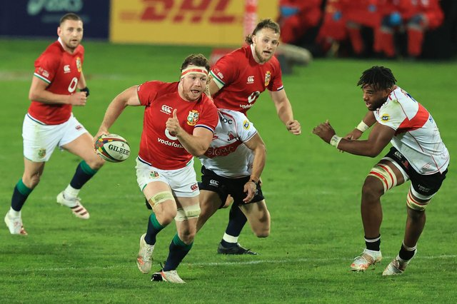 Hamish Watson makes a break for the Lions.