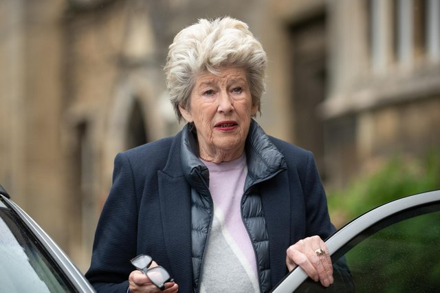 Lady Lavinia Nourse, 77, of The Severals, Newmarket leaves The Knights' Chamber in Peterborough, after being cleared of all charges after a man accused her of sexually abusing him when he was a young boy in the 1980s picture: Joe Giddens/PA