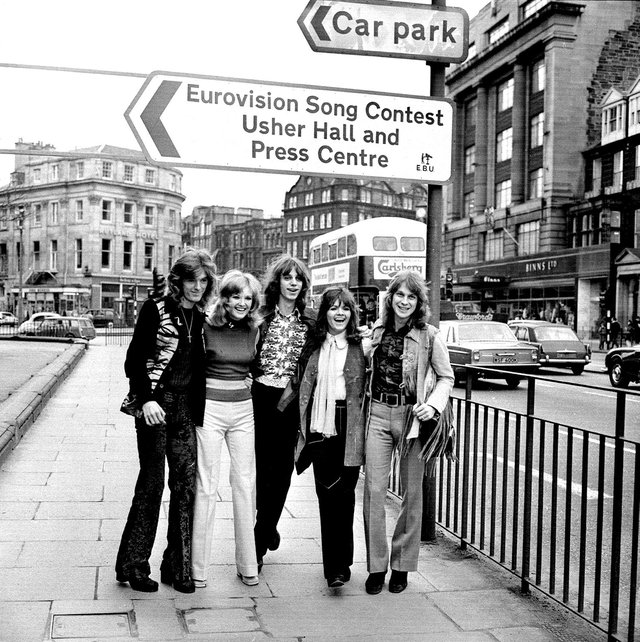 The New Seekers, representing the United Kingdom, make their way to the Usher Hall for the Eurovision Contest in Edinburgh in 1972. Singer Eve Graham (second from right) hailed from Perth.