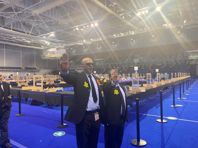 Derek Jackson, for the Liberal Party, was forced to walk awayfrom the Glasgow Emirates Arena (Photo: Gina Davidson).