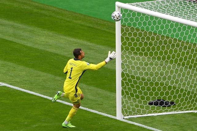 Scotland's goalkeeper David Marshall watches Czech Republic's Patrik Schick's second goal sail into the net during the UEFA EURO 2020 Group D football match between Scotland and Czech Republic at Hampden Park in Glasgow on June 14, 2021.  (Photo by ANDY BUCHANAN/POOL/AFP via Getty Images)
