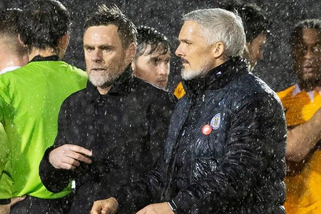Motherwell boss Graham Alexander (left) and St Mirren counterpart Jim Goodwin after the game