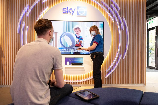 The media and entertainment group has opened for business on Glasgow's Buchanan Street, bringing together Sky Mobile, Sky Broadband and Sky TV in one place. Picture: Rebecca Andrews
