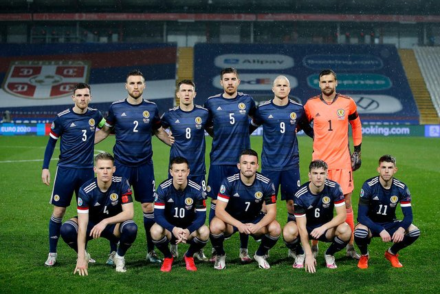Scotland side pose for a team picture prior to kick off during the UEFA EURO 2020 Play-Off Final between Serbia and Scotland at Rajko Mitic Stadium. (Photo by Srdjan Stevanovic/Getty Images)