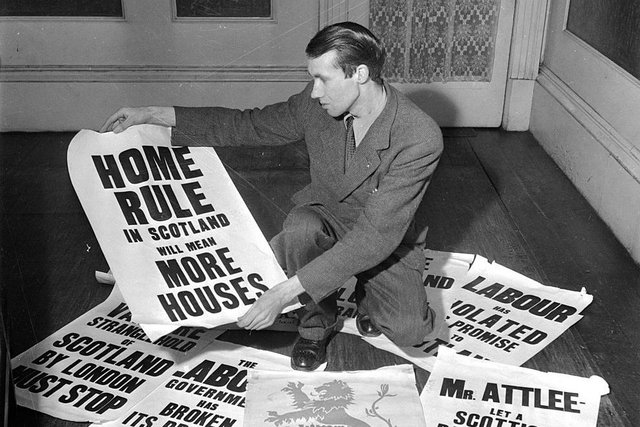 """Calls for home rule for Scotland have a longstanding tradition, as these posters from 1951 show. Some """"Red Clydesiders"""" also supported the idea about a century ago (Picture: Chris Ware/Getty Images)"""