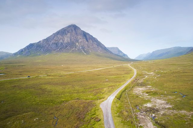 An aerial view of the West Highland Way as it passes Buachaille Etive Mor PIC: Richard Johnson / Getty Images