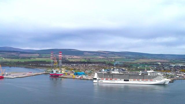 The 5,700-passenger MSC Meraviglia at Invergordon on the Cromarty Firth.