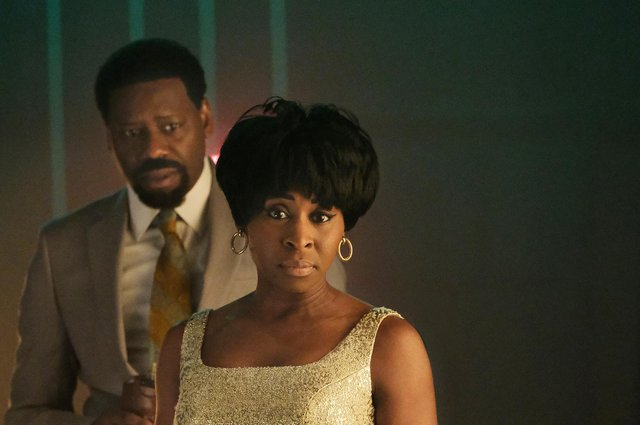 Aretha Franklin, played by Cynthia Erivo, and Ted White, played by Malcolm Barrett off stage prior to a performance in Genius: Aretha. Picture: PA Photo/National Geographic/Richard DuCree
