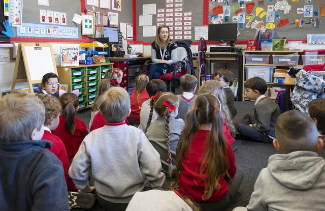 Jacqui Milliner teaching her P1 pupils on their first day back at Inverkip Primary School.