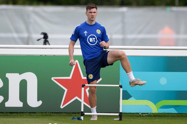 Kieran Tierney did a light training session on Tuesday at Rockliffe Park.