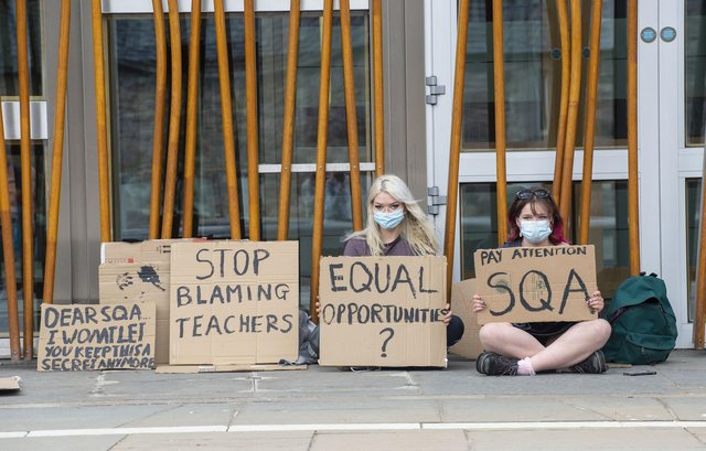 Students protest outside the Scottish Parliament earlier this month about issues with this year's exams. PIC: Lisa Ferguson.